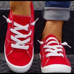 Red Contrast-Stitch Sneaker - Women